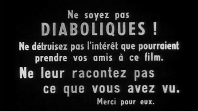 """Il cartello che compare alla fine di """"Les Diaboliques"""""""