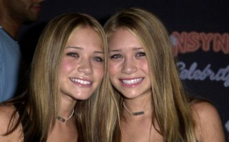 """Mary-Kate Olsen & Ashley Olsen during N'SYNC And Jive Records Host A Record Release Party For Their New Album """"Celebrity"""" at Moomba in West Hollywood, California, United States. (Photo by SGranitz/WireImage)"""