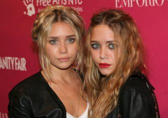 Ashley Olsen and Mary-Kate Olsen at the Phillips de Pury & Company in New York, New York (Photo by Mychal Watts/WireImage)