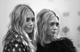 (EDITORS NOTE: Image has been shot in black and white. Color version not available.) Mary-Kate Olsen and Ashley Olsen attend the New York premiere of Nine at the Ziegfeld Theatre on December 15, 2009 in New York City. (Photo by Jim Spellman/WireImage)
