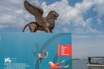 VENICE, ITALY - AUGUST 29: The display announcing the 77th Venice Film Festival which starts on 02 September and ends on 12 September on August 29, 2020 in Venice, Italy. (Photo by Stefano Mazzola/Awakening/Getty Images)