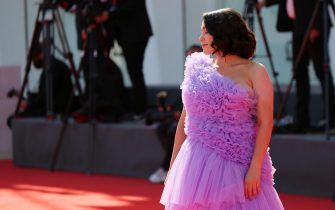 """VENICE, ITALY - SEPTEMBER 03: Director Alice Waddington walks the red carpet ahead of the movie """"The Human Voice"""" and """"Quo Vadis, Aida?"""" at the 77th Venice Film Festival at  on September 03, 2020 in Venice, Italy. (Photo by Ernesto S. Ruscio/Getty Images)"""