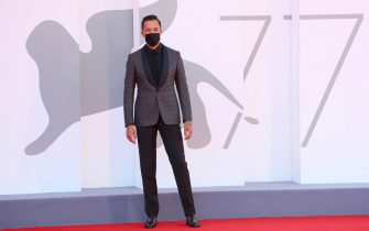"""VENICE, ITALY - SEPTEMBER 03: Livio Beshir walks the red carpet ahead of the movie """"The Human Voice"""" and """"Quo Vadis, Aida?"""" at the 77th Venice Film Festival at  on September 03, 2020 in Venice, Italy. (Photo by Ernesto S. Ruscio/Getty Images)"""