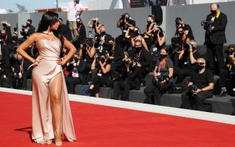 """VENICE, ITALY - SEPTEMBER 03: Georgina Rodriguez walks the red carpet ahead of the movie """"The Human Voice"""" and """"Quo Vadis, Aida?"""" at the 77th Venice Film Festival at  on September 03, 2020 in Venice, Italy. (Photo by Pascal Le Segretain/Getty Images)"""