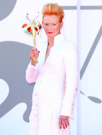 """VENICE, ITALY - SEPTEMBER 03: Tilda Swinton walks the red carpet ahead of the movie """"The Human Voice"""" and """"Quo Vadis, Aida?"""" at the 77th Venice Film Festival at  on September 03, 2020 in Venice, Italy. (Photo by Ernesto S. Ruscio/Getty Images)"""
