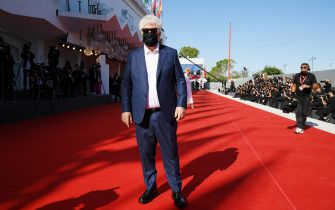 """VENICE, ITALY - SEPTEMBER 03: Director Pedro Almodóvar walks the red carpet ahead of the movie """"The Human Voice"""" and """"Quo Vadis, Aida?"""" at the 77th Venice Film Festival at  on September 03, 2020 in Venice, Italy. (Photo by Pascal Le Segretain/Getty Images)"""