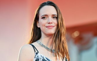 """Britich-French actress Stacy Martin arrives for the screening of the film """"Amants"""" (Lovers) presented in competition on the second day of the 77th Venice Film Festival, on September 3, 2020 at Venice Lido, during the COVID-19 infection, caused by the novel coronavirus. (Photo by Alberto PIZZOLI / AFP) (Photo by ALBERTO PIZZOLI/AFP via Getty Images)"""