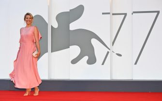 """Jury member of the 77th Venice Film festival, French actress Ludivine Sagnier arrives for the screening of the film """"Amants"""" (Lovers) presented in competition on the second day of the 77th Venice Film Festival, on September 3, 2020 at Venice Lido, during the COVID-19 infection, caused by the novel coronavirus. (Photo by Alberto PIZZOLI / AFP) (Photo by ALBERTO PIZZOLI/AFP via Getty Images)"""