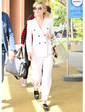 VENICE, ITALY - AUGUST 30:  Cate Blanchett is seen arriving at Venice Airport during the 75th Venice Film Festival on August 30, 2018 in Venice, Italy.  (Photo by Photopix/GC Images)