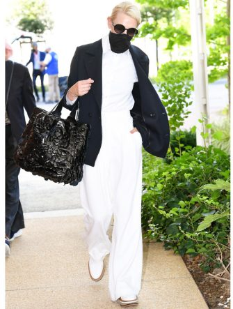 VENICE, ITALY - SEPTEMBER 01: Cate Blanchett is seen arriving at Venice Airport during the 77th Venice Film Festival on September 01, 2020 in Venice, Italy. (Photo by Photopix/GC Images)