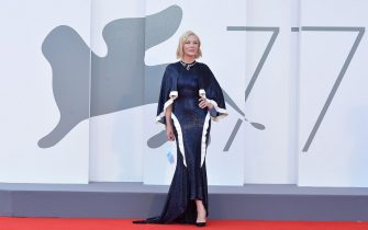 """VENICE, ITALY - SEPTEMBER 02: Cate Blanchett walks the red carpet ahead of the Opening Ceremony and the """"Lacci"""" red carpet during the 77th Venice Film Festival at  on September 02, 2020 in Venice, Italy. (Photo by Dominique Charriau/WireImage)"""
