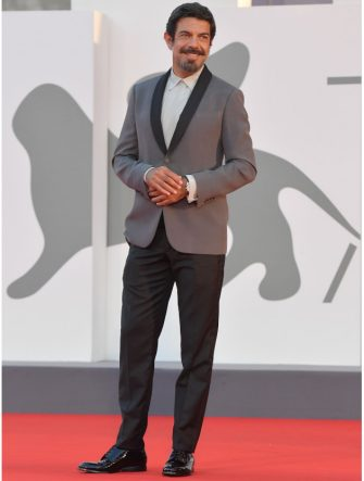 """Italian actor and producer Pierfrancesco Favino arrives for the screening of the film """"Padrenostro"""" presented in competition on the third day of the 77th Venice Film Festival, on September 4, 2020 at Venice Lido, during the COVID-19 infection, caused by the novel coronavirus. (Photo by Tiziana FABI / AFP) (Photo by TIZIANA FABI/AFP via Getty Images)"""
