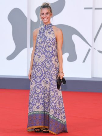 """VENICE, ITALY - SEPTEMBER 04: Tania Cagnotto walks the red carpet ahead of the movie """"Padrenostro"""" at the 77th Venice Film Festival at  on September 04, 2020 in Venice, Italy. (Photo by Daniele Venturelli/WireImage,)"""
