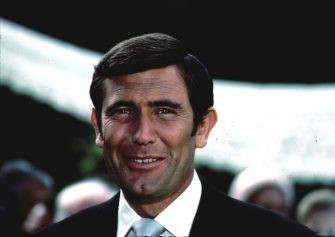 Australian actor George Lazenby during the filming of the James Bond film 'On Her Majesty's Secret Service', 1969. (Photo by Larry Ellis Collection/Getty Images)