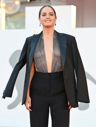 """Italian model and actress Matilde Gioli arrives for the screening of the film """"Miss Marx"""" presented in competition on the fourth day of the 77th Venice Film Festival, on September 5, 2020 at Venice Lido, during the COVID-19 infection, caused by the novel coronavirus. (Photo by Alberto PIZZOLI / AFP) (Photo by ALBERTO PIZZOLI/AFP via Getty Images)"""
