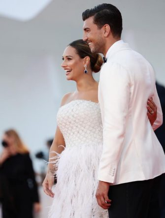 """VENICE, ITALY - SEPTEMBER 05: Beatrice Valli and Marco Fantini walk the red carpet ahead of the movie """"Miss Marx"""" at the 77th Venice Film Festival on September 05, 2020 in Venice, Italy. (Photo by Vittorio Zunino Celotto/Getty Images)"""
