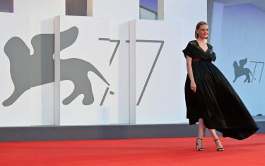"""British actress Romola Garai arrives for the screening of the film """"Miss Marx"""" presented in competition on the fourth day of the 77th Venice Film Festival, on September 5, 2020 at Venice Lido, during the COVID-19 infection, caused by the novel coronavirus. (Photo by Alberto PIZZOLI / AFP) (Photo by ALBERTO PIZZOLI/AFP via Getty Images)"""