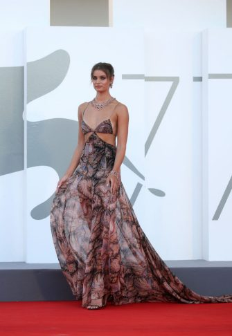 """VENICE, ITALY - SEPTEMBER 02: Taylor Hill walks the red carpet ahead of the Opening Ceremony and the """"Lacci"""" red carpet during the 77th Venice Film Festival at  on September 02, 2020 in Venice, Italy. (Photo by Elisabetta A. Villa/WireImage,)"""