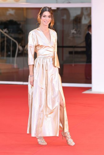 """VENICE, ITALY - SEPTEMBER 04: Rebecca Borga walks the red carpet ahead of the movie """"Padrenostro"""" at the 77th Venice Film Festival at  on September 04, 2020 in Venice, Italy. (Photo by Daniele Venturelli/WireImage,)"""