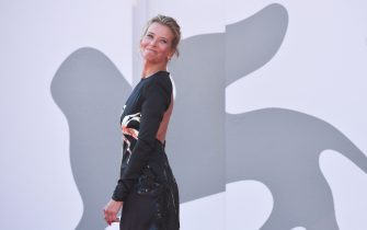 """Russian actress Julia Vysotskaya arrives for the screening of the film """"Dorogie Tovarischi! (Dear Comrades!)"""" presented in competition on the sixth day of the 77th Venice Film Festival, on September 7, 2020 at Venice Lido, during the COVID-19 infection, caused by the novel coronavirus. (Photo by Tiziana FABI / AFP) (Photo by TIZIANA FABI/AFP via Getty Images)"""