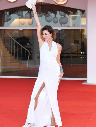 "VENICE, ITALY - SEPTEMBER 09: Alba Parietti walks the red carpet ahead of the movie ""Le Sorelle Macaluso"" at the 77th Venice Film Festival on September 09, 2020 in Venice, Italy. (Photo by Daniele Venturelli/WireImage)"