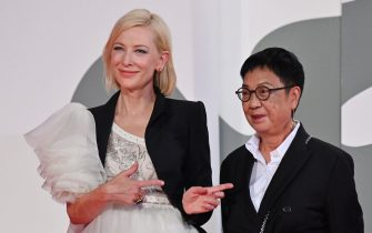 Jury President of the 77th Venice Film festival, Australian-US actress Cate Blanchett (L) gestures towards Hong-Kong director Ann Hui who arrives to receive a Golden Lion award for Lifetime Achievement during a ceremony on the seventh day of the 77th Venice Film Festival, on September 8, 2020 at Venice Lido, during the COVID-19 infection, caused by the novel coronavirus. (Photo by Alberto PIZZOLI / AFP) (Photo by ALBERTO PIZZOLI/AFP via Getty Images)
