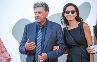 """VENICE, ITALY - SEPTEMBER 11: Sergio Castellitto and Margaret Mazzantini walk the red carpet ahead of the movie """"I Predatori"""" at the 77th Venice Film Festival on September 11, 2020 in Venice, Italy. (Photo by Elisabetta Villa/Getty Images)"""