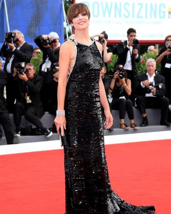 VENICE, ITALY - SEPTEMBER 04:  Micaela Ramazzotti  walks the red carpet ahead of the 'Una Famiglia' screening during the 74th Venice Film Festival at Sala Grande on September 4, 2017 in Venice, Italy.  (Photo by Venturelli/WireImage)