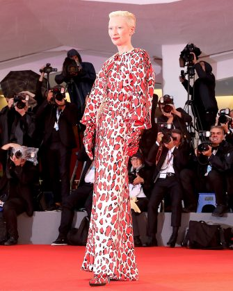 VENICE, ITALY - SEPTEMBER 03:  Tilda Swinton walks the red carpet ahead of the 'At Eternity's Gate' screening during the 75th Venice Film Festival at Sala Grande on September 3, 2018 in Venice, Italy.  (Photo by Franco Origlia/Getty Images)