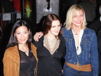 "Lucy Liu, Drew Barrymore and Cameron Diaz during New York Screening of ""Charlie's Angeles"" at Ziegfeld Theatre in New York City, New York, United States. (Photo by James Devaney/WireImage)"