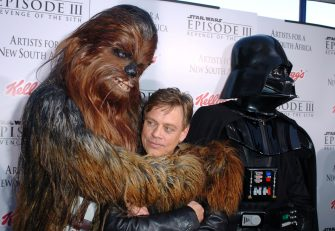 "Chewbacca and Mark Hamill and Darth Vader during ""Star Wars: Episode III - Revenge of The Sith"" Premiere to Benefit Artists for a New South Africa Charity - Arrivals at Mann's Village Theater in Westwood, CA, United States. (Photo by SGranitz/WireImage)"