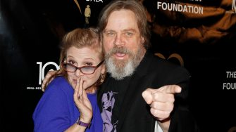 BEVERLY HILLS, CA - SEPTEMBER 30:  (L-R) Carrie Fisher and Mark Hamill attend the Midnight Mission Golden Heart awards gala at the Beverly Wilshire Hotel on September 30, 2014 in Beverly Hills, California.  (Photo by Tibrina Hobson/Getty Images)