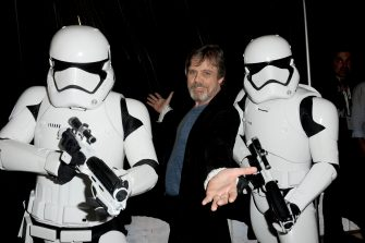 SAN DIEGO, CA - JULY 10:  Actor Mark Hamill (C) poses with Imperial Stormtroopers at the Lucasfilm panel during Comic-Con International 2015 at the San Diego Convention Center on July 10, 2015 in San Diego, California.  (Photo by Albert L. Ortega/Getty Images)