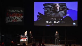 LONDON, ENGLAND - MARCH 18:  Actor Mark Hamill wins the EMPIRE Icon award during the Rakuten TV EMPIRE Awards 2018 at The Roundhouse on March 18, 2018 in London, England.  (Photo by Ian Gavan/Getty Images)