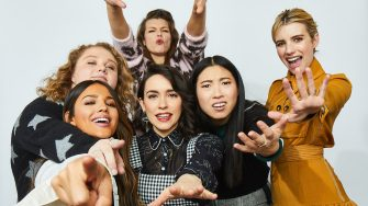 Danielle Macdonald, Eiza González, Alice Waddington, Milla Jovovich, Awkwafina and Emma Roberts from 'Paradise Hills' pose for a portrait in the Pizza Hut Lounge in Park City, Utah on January 26, 2019 in Park City, Utah. (Photo by Aaron Richter/Getty Images for Pizza Hut)