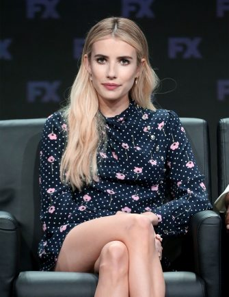 BEVERLY HILLS, CA - AUGUST 03:  Actor Emma Roberts speaks onstage at the 'American Horror Story: Apocalypse' panel during the FX Network portion of the Summer 2018 TCA Press Tour at The Beverly Hilton Hotel on August 3, 2018 in Beverly Hills, California.  (Photo by Frederick M. Brown/Getty Images)