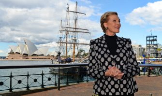 Stage and screen icon Julie Andrews poses for photos in front of the Sydney Opera House during her first visit to Australia on May 16, 2013. The star of movies such as Mary Poppins, The Sound of Music and Victor/Victoria, Andrews is in Australia for her national tour of 'An Evening with Julie Andrews'.  AFP PHOTO / William WEST        (Photo credit should read WILLIAM WEST/AFP via Getty Images)