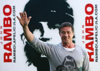US actor Sylvester Stallone poses during a photocall for his new film John Rambo at the Santiago Bernabeu stadium in Madrid, 28 January 2008. AFP PHOTO/PHILIPPE DESMAZES (Photo credit should read PHILIPPE DESMAZES/AFP via Getty Images)