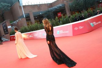 """ROME, ITALY - OCTOBER 21: Eleonora Pieroni and Valentina Bonariva attend the red carpet of the movie """"Maledetta Primavera""""  during the 15th Rome Film Festival on October 21, 2020 in Rome, Italy. (Photo by Elisabetta Villa/Getty Images for RFF)"""