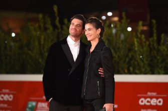 """ROME, ITALY - OCTOBER 21:  Giampaolo Morelli and Gloria Bellicchi attend the red carpet of the movie """"Maledetta Primavera""""  during the 15th Rome Film Festival on October 21, 2020 in Rome, Italy. (Photo by Stefania M. D'Alessandro/Getty Images for RFF)"""
