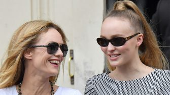 PARIS, FRANCE - JULY 03:  Lily-Rose Depp and Vanessa Paradis are seen arriving at Chanel Fashion Show during Haute Couture Fall Winter 2018/2019 on July 3, 2018 in Paris, France.  (Photo by Jacopo Raule/GC Images)
