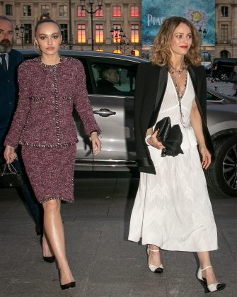 PARIS, FRANCE - MAY 02: (L-R) Lily-Rose Depp and her mother Vanessa Paradis leave the CHANEL J12 cocktail on Place Vendome on May 02, 2019 in Paris, France. (Photo by Marc Piasecki/GC Images)