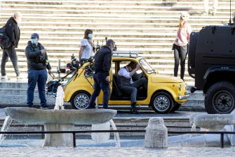 Tom Cruise during the shooting of Mission Impossible 7 at Piazza di Spagna in Rome, during the pandemic Covid-19, 22 November 2020. ANSA/MASSIMO PERCOSSI