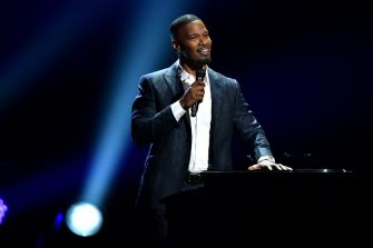 LOS ANGELES, CA - JUNE 24:  Host Jamie Foxx performs onstage at the 2018 BET Awards at Microsoft Theater on June 24, 2018 in Los Angeles, California.  (Photo by Kevin Mazur/Getty Images for BET)