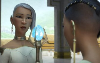 """The cool and calculating chief of the Fang Lands and mother to Raya's nemesis Namaari, Virana leads her people with fierce pragmatism. Featuring Gemma Chan as the voice of Namaari and Sandra Oh as the voice of Virana, Walt Disney Animation Studios' """"Raya and the Last Dragon"""" will be in theaters and on Disney+ with Premier Access on March 5, 2021. © 2021 Disney. All Rights Reserved."""