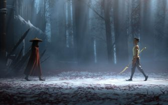 """Raya and her nemesis, Namaari, face off amid the snowy mountains of Spine. Featuring Kelly Marie Tran as the voice of Raya and Gemma Chan as the voice of Namaari, Walt Disney Animation Studios' """"Raya and the Last Dragon"""" will be in theaters and on Disney+ with Premier Access on March 5, 2021. © 2021 Disney. All Rights Reserved."""