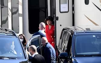 """Roma, Lady Gaga in pausa durante il set del Film """"House of Gucci"""""""