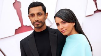 LOS ANGELES, CALIFORNIA â   APRIL 25: (EDITORIAL USE ONLY) In this handout photo provided by A.M.P.A.S., (L-R) Riz Ahmed and Fatima Farheen Mirza attend the 93rd Annual Academy Awards at Union Station on April 25, 2021 in Los Angeles, California. (Photo by Matt Petit/A.M.P.A.S. via Getty Images)