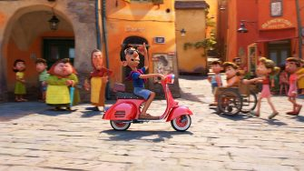 """SIR VESPA -- In Disney and Pixar's """"Luca,"""" town bully Ercole Visconti (voice of Saverio Raimondo) is the repeat champion of the town's Portorosso Cup race. He's a Vespa-owning, pompadoured blowhard who has no doubt he can beat his newest challengers. Directed by Academy Award® nominee Enrico Casarosa and produced by Andrea Warren, """"Luca"""" debuts on Disney+ on June 18, 2021. © 2021 Disney/Pixar. All Rights Reserved."""