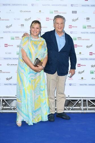 ROME, ITALY - JUNE 22: Francesca Pozzetto and Renato Pozzetto attend the Nastri D'Argento 2021 red carpet on June 22, 2021 in Rome, Italy. (Photo by Daniele Venturelli/Daniele Venturelli/WireImage )